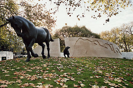 Animals in War Memorial unveiled in 2004 at the edge of Hyde Park