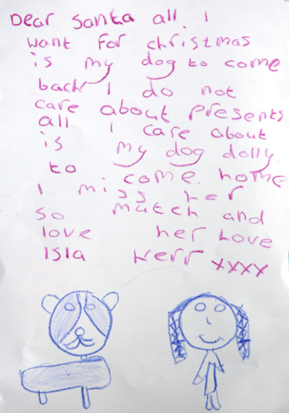 Isla Kerr, 7, has written to Santa Claus asking him to find her lost dog Dolly. Picture: Ross Parry Agency
