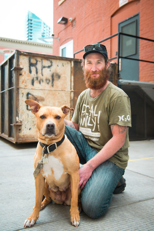 Brad and his dog Honey at free vet care day in Calgary/Aubri Poon Photography