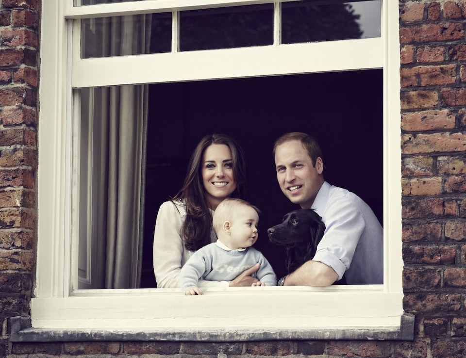 Jason Bell captured this informal portrait of the young couple and 8-month-old George in 2014.